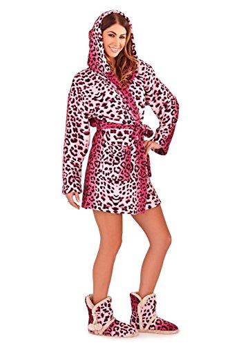 Robes capucha y señoras mujer con Super polar ropa dormir Albornoz de cálida para Rosa suave de forro r8UqZr