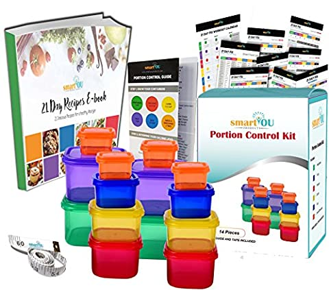smartYOU DELUXE 14 Piece Portion Control Containers Kit (COMPLETE GUIDE + FREE 21 DAY PDF PLANNER + RECIPE E-BOOK + BODY TAPE MEASURE included) - Leak proof, Perfect Size, Color-coded
