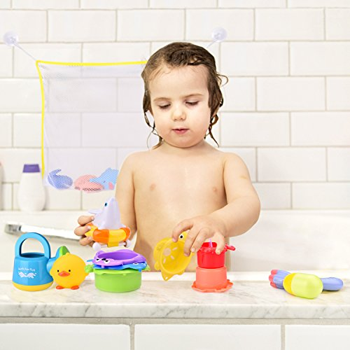 15 PCs Baby Bath Toys with Ocean Animals Bath Squirters Toys, Stacking Cups, Water Blaster Toys, Watering Can, Fishing Net and Bath Toy Organizer by FUN LITTLE TOYS (Image #4)