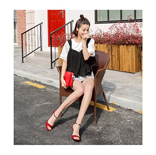 Fine Dream Summer Fashion Red Size 39 Ladies Heels Shoes Color High Buckle Shoes New Heel Metal Sandals wwgvxfErqd
