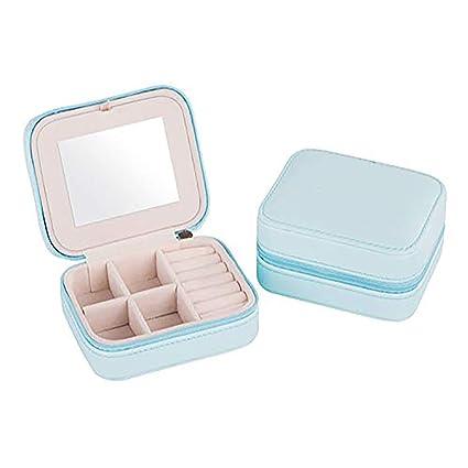 Portátil de viaje caja de joyería pequeña caja de joyería con espejo soporte para anillos,