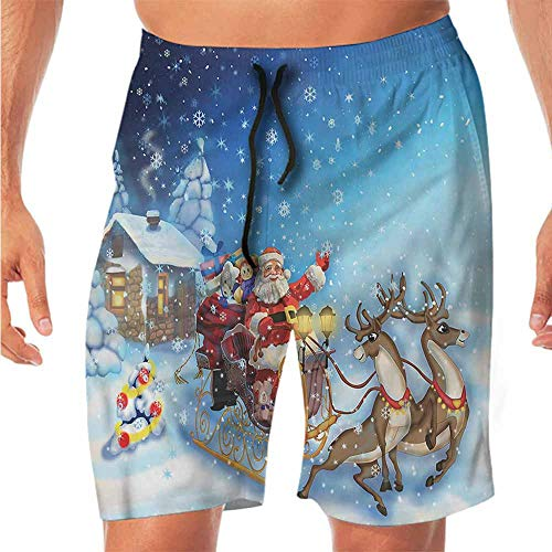 Quick-Dry Beach Boys Shorts Christmas,Santa in Sleigh Toys Shorts for Teen M