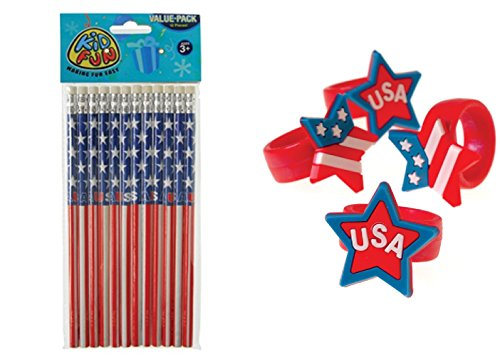 Toy Olympic Rings - Awesome Stars & Stripes Patriotic Party Favors (24pce.) 12 Patriotic Pencils & 12 Stars & Stripes/USA Rings