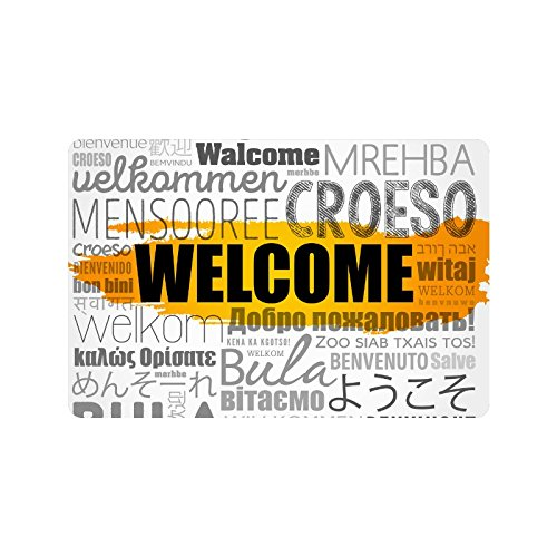 InterestPrint Welcome Word Cloud In Different Languages Doormat Non Slip Indoor/Outdoor Floor Mat Home Decor, Door Mat Entrance Rug Rubber Backing 23.6