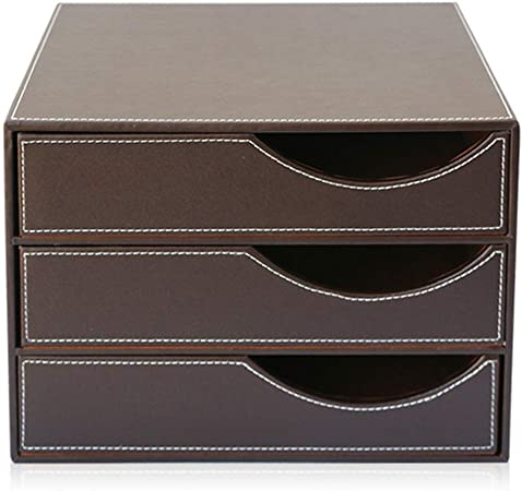 Compartimentos de almacenamiento Bandeja de documentos, estructura de madera caja del cajón de piel A4, carpetas de archivos de clasificación bandeja con 3 cajones cerrados oficina y la escuela (negro: Amazon.es: Hogar