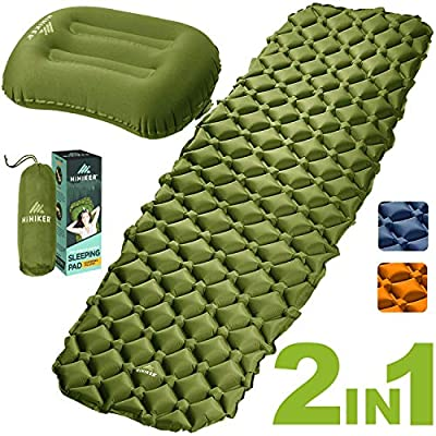 HiHiker Camping Sleeping Pad + Inflatable Travel Pillow - Ultralight Backpacking Air Mattress w/Compact Carrying Bag -Sleeping Mat for Hiking Traveling & Outdoor Activities