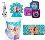 Disney Frozen Bathroom 5 Piece Bundle Trashcan, Soap Dispenser, Toothbrush Holder, Set Washcloths, Tub Mat