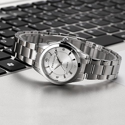 Chronos Women Girls Silver Stainless Steel Quartz Waterproof Watch Round Analog Silver Dial by Chronos (Image #4)'