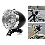 retro bike headlight - P&T Bike Light Front LED 180lumens Vintage Bicycle Headlight Retro Fashionable Decoration Cycling Flashlight Lamp (Black)