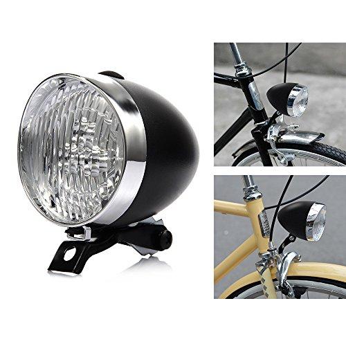 P&T Bike Light Front LED 180lumens Vintage Bicycle Headlight Retro Fashionable Decoration Cycling Flashlight Lamp (Black)