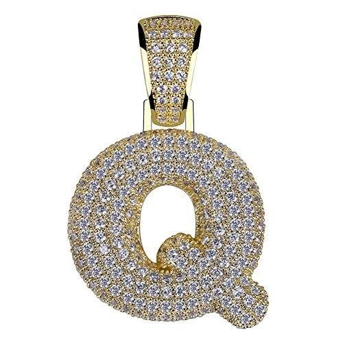 HECHUANG Micropave Simulated Diamond Iced Out Bling Custom Bubble Letters Pendant with Rope Chain (Q Gold, -