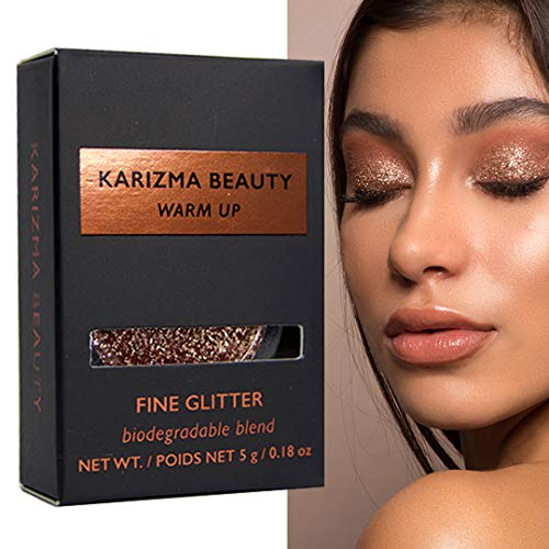 Warm Up Glitter Eyeshadow Biodegradable // Karizma Beauty Rose Gold Bio Glitter Eco Glitter Face Glitter Loose Eyeshadow