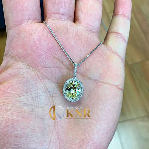 14k White Gold Oval Cut Fancy Yellow And Round Cut Diamonds Pendent Necklace Art Deco Antique Style Halo Bridal Gift Chain Wedding 5.20ctw