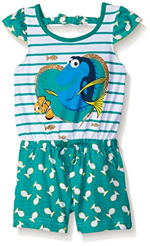 [Disney Little Girls' Toddler Finding Dory Romper, Green, 2T] (Movie Character Outfits)