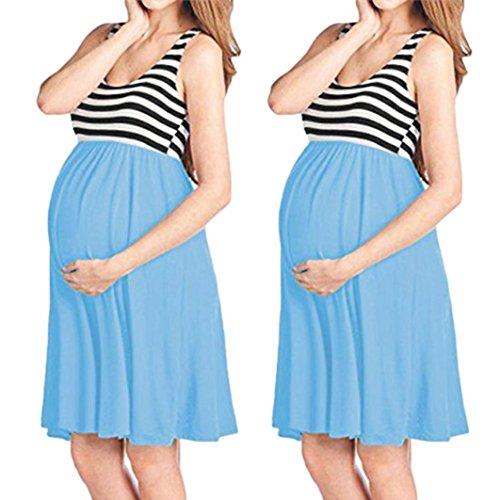 rodilla puro de azul cuello color casual maternidad chaleco mangas Robrs nuevo empalme del de vestido las mujeres rayas sin moda tanque falda o elegante cielo del del Adeshop wRpq5gg