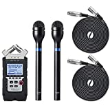 Movo Pro Recording Bundle with Zoom H4N PRO Digital Multitrack Recorder, Dynamic Omnidirectional Handheld XLR Reporter Microphone (x2), and Balanced Male-to-Female XLR Microphone Cable (10 foot) (x2)