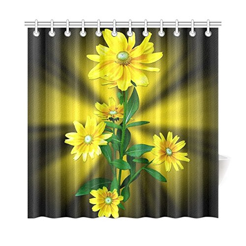 WIEDLKL Home Decor Bath Curtain Flowers Flower Yellow Margaritas Polyester Fabric Waterproof Shower Curtain For Bathroom, 72 X 72 Inch Shower Curtains Hooks Included ()