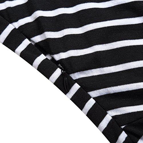 Black Dress 3 Business Women Sleeve Striped Sleeveless Party 4 Pencil Cocktail GloryStar Dresses 7CqnWSW