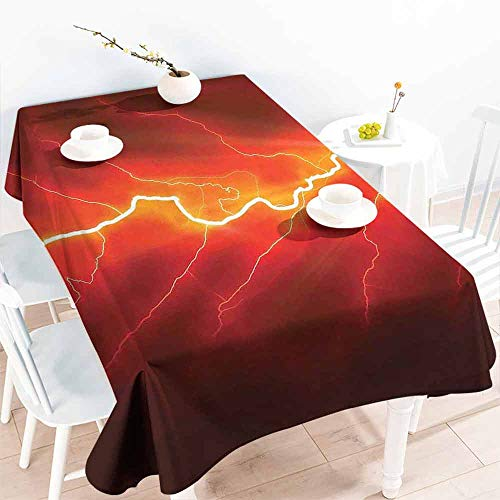 HCCJLCKS Restaurant Tablecloth Nature Bolt Forked Against Dark Sky Thunderstorm Intense Electrical Rays Theme Nature Art Soft and Smooth Surface W60 xL102 Yellow - Spider Cycles Intense