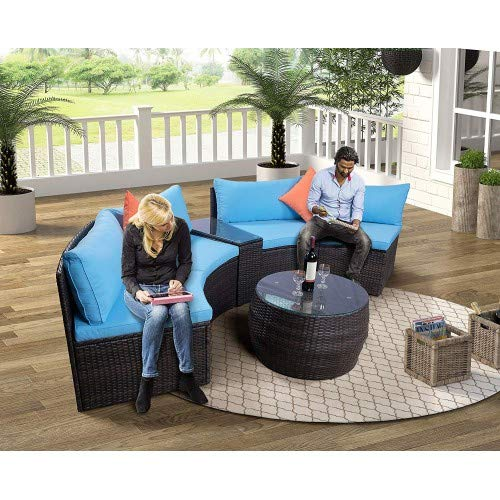 Merax 6-Piece Patio Furniture Sets, Outdoor Half-Moon Sectional Furniture Wicker Sofa Set with Two Pillows and Coffee Table Garden Lawn Pool Backyard Outdoor Sofa, Blue Cushions