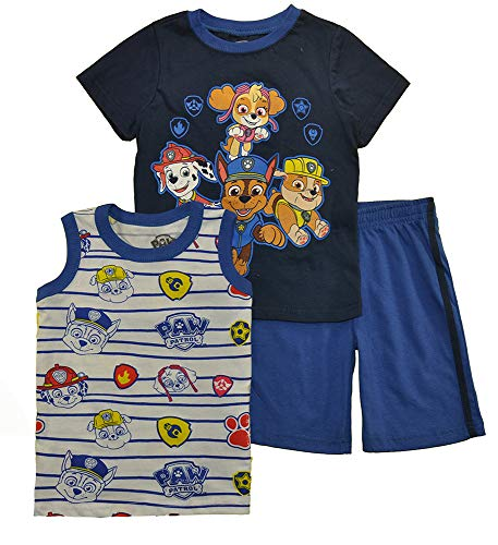 Paw Patrol Little Boys Three-Piece Short Set (4T, Navy)]()
