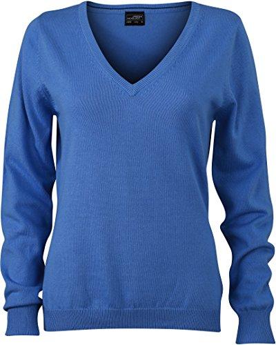 Coton nbsp;pull Bleu V Femme Col En Glacier Jn658 4AqxXR7X