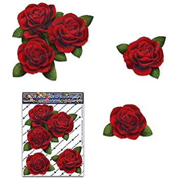Jas stickers red roses flower small pack decal car stickers st00066rd sml