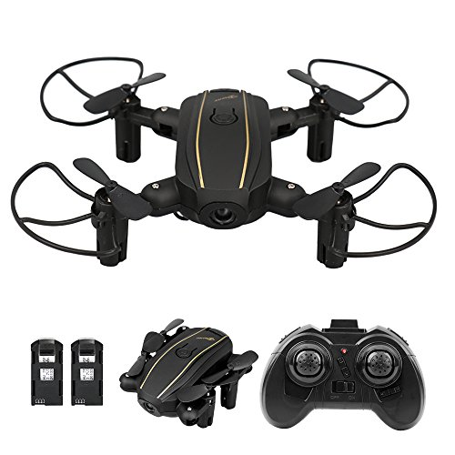 Radio Controlled Black Helicopter (Dwi Dowellin Mini Drone Foldable RC Quadcopter with Altitude Hold 3D Flips Rolls Remote Control One Key Take Off Landing Emergency Stop Headless Mode Micro Drones comes with 2pcs Batteries, Black)