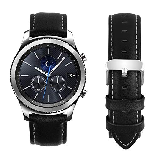 Fullmosa Compatible Samsung Galaxy 46mm/Gear S3 Frontier/Classic Watch Bands, Quick Release Leather Watch Band for Gear S3 Bands/Moto 360 2nd Gen 46mm 22mm Watch Band, Black + Silver Buckle