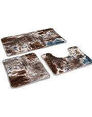 Badmattenset 3-delig - Badkamertapijt - antislip badmat - Badmat antislip wasbaar - tapijt voor badkamer - 80x50 badmat + 50x40 wc-mat 50x40 mat 50x40