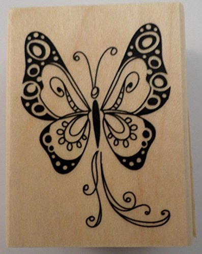 BUTTERFLY SCRAPBOOKING WOOD MOUNTED RUBBER STAMP