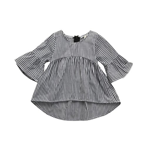 TATGB Baby Girls Kids Clothes Stripe Princess Tops Outfits Dress Gray 6-24M