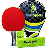 5 Star Professional Ping Pong Paddle for Advanced Training - Table Tennis Racket Bat with Sweat Bands and Comfort Grip Blade, High Performance 2.0 mm Sponge Rubber, Bundle Gift Case by BandySports