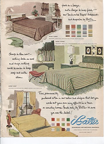 Capri Pillowcases - Bates Bedspreads And Matching Draperies Comb-Percale Sheets And Pillowcases Como Capri Lido Styles 1953 Vintage Antique Advertisement