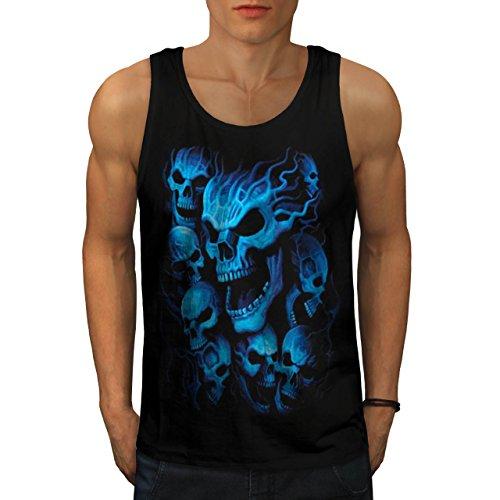 Ghost Skeleton Skull Blue Mask Men M Tank Top   Wellcoda (Birds Of War Costume)