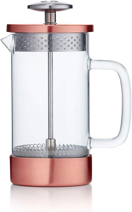 Barista & Co - Cafetera de prensa francesa, sin plástico, 3 tazas y 8 tazas 3 Mug 1L cobre: Amazon.es: Hogar