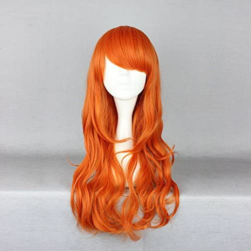 Anime Wig 60cm耐熱高品質 大人気 ロリータ風 原宿風 ファッション オレンジ色 ふんわりウェーブ  ロングカーリー