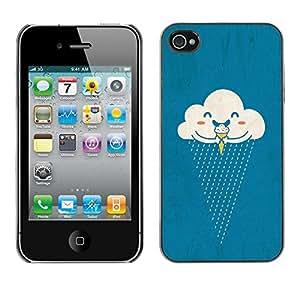 Caucho caso de Shell duro de la cubierta de accesorios de protección BY RAYDREAMMM - Apple iPhone 4 / 4S - Cream Rain Happy Cartoon