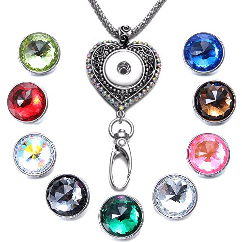 Soleebee 34.3 inches Office Lanyard Snap Button Jewelry ID Badge Holder Necklace Bonus 9pcs Facets Crystal Glass Snap Buttons (Colorful Rhinestone Love Heart)