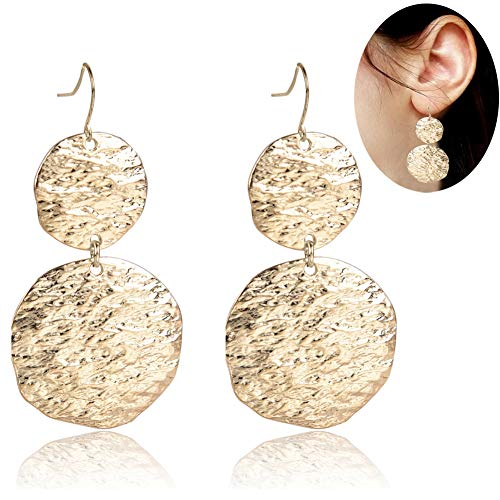 Dangle Drop Gold Round Earrings - YIFEI 2018 New Trendy Vintage Hammered Surface Bohemian Statement Minimalist Geometric Fashion Unique Earrings For Women/Girl