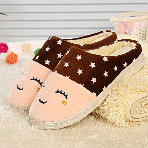 Y-Hui Autunno e Inverno faccia pantofole di cotone Casa Arredamento giovane pantofole caldo antiscivolo da pantofole,3637,caffè