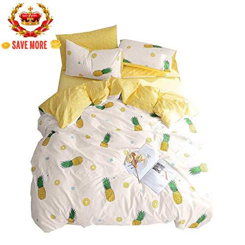 (BuLuTu Pineapple Kids Duvet Cover Twin Cotton Cream White,Reversible Yellow Geometric 3 Pieces Lightweight 100% Cotton Bedding Sets,1 Twin Duvet Cover + 2 Pillow Shams,No Comforter)