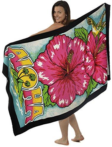 Oversized Terry Velour Beach Towel Aloha Hibiscus Flower Hummingbird 40