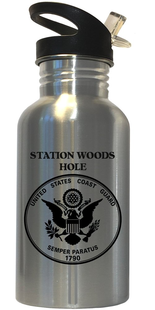 Station Woods Hole - US Coast Guard Stainless Steel Water Bottle Straw Top, 1028