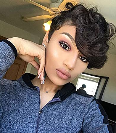 Bei Short Black Pixie Wigs With Bangs Short Curly Synthetic Wigs For Black  Women Elegant Short Hairstyles