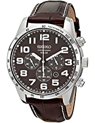 Seiko Mens SSC227 Stainless Steel Solar Watch with Brown Leather Band
