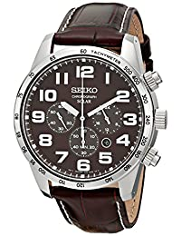 Seiko Men's SSC227 Stainless Steel Solar Watch with Brown Leather Band