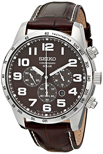 Seiko Men's SSC227 Stainless Steel Solar Watch with Brown Leather Band -