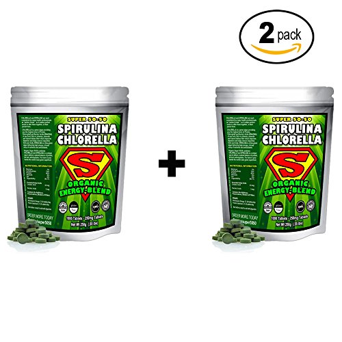 Spirulina Chlorella Cracked Cell Wall Super 50-50 Super-Pack 1,000 Tablets . Raw Organic Gluten-Free Non-GMO Green Superfood. High Protein, Chlorophyll nucleic acids. No preservatives, 2 Pack