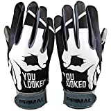 PrimalBaseball Youth C1COOP You Looked Batting Gloves for Sports Players - Youth Medium | Black - Grey